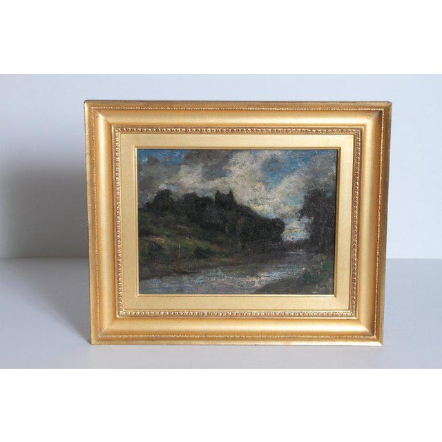 19th Century English Oil Canvas Atmospheric Landscape For Sale - Image 4 of 13