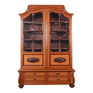 19th Century Victorian Carved Oak Glass Front Double Bookcase For Sale