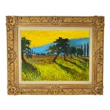 Image of Colorful Contemporary Landscape Acrylic Painting With Ornate Frame For Sale