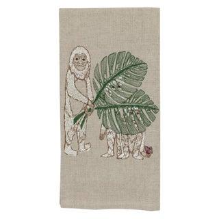 2010s French Ecru Linen Monkey See Tea Towel