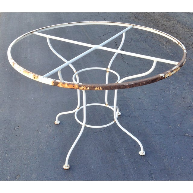 Vintage Metal Patio Dining Table with Glass Top - Image 4 of 4