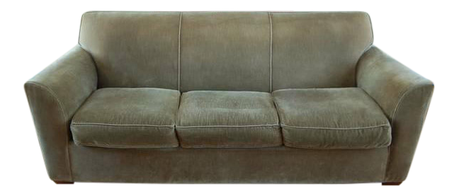 Crate Barrel Olive Green Velvet Sofa Couch Chairish