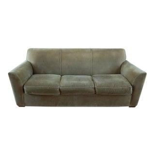 Crate & Barrel Olive Green Velvet Sofa Couch For Sale