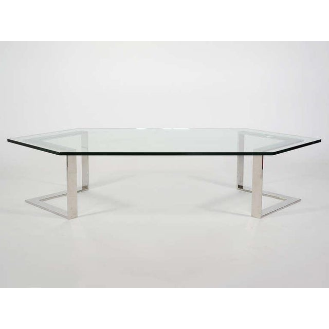 Chrome And Glass Coffee Table By Directional - Image 8 of 10