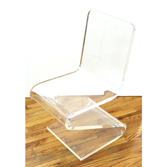 Modern Lucite 'Z' cantilever side chair or desk chair, in style of Les Prismatiques