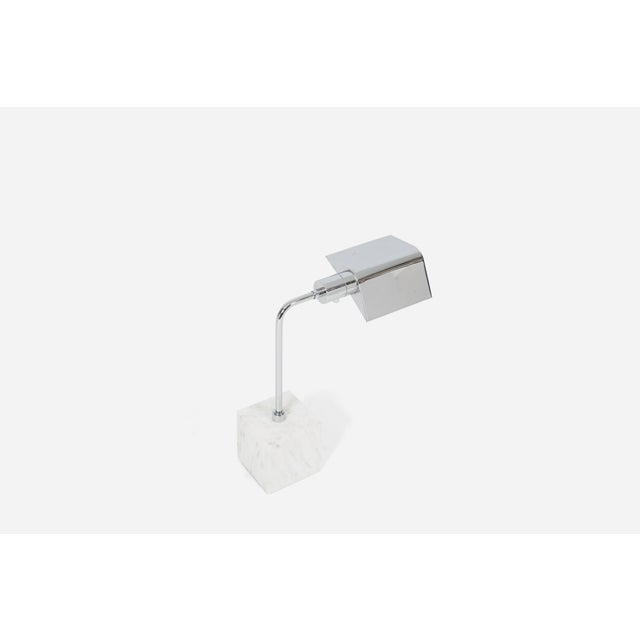 Mid-Century Modern Marble and Chrome Desk Lamp, 1970s For Sale - Image 3 of 6