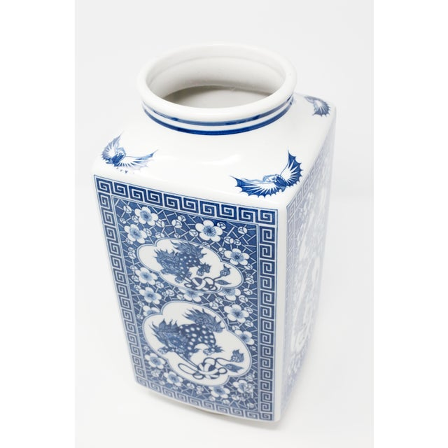 1990s Japanese Large Blue and White Planter Vessel For Sale - Image 5 of 11