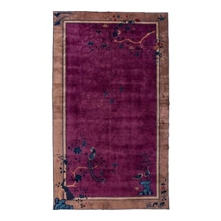 Antique Purple Chinese Mandarin Wool Rug 9 Ft 9 in X 16 Ft 3 In. For Sale