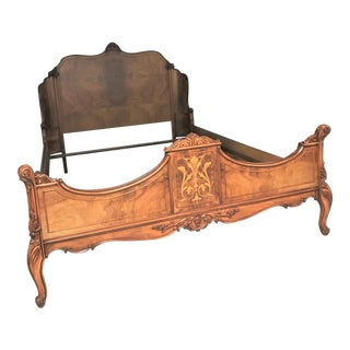 Louis XV-Style Carved Inlaid Full Bedframe For Sale