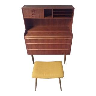 Danish Mid-Century Modern Teak Secretary Desk With Vanity and Stool - 2 Pc. Set For Sale