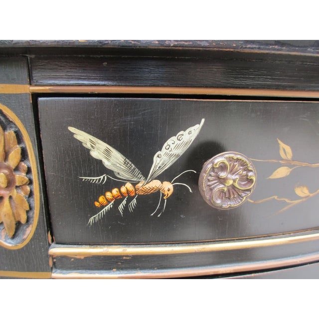 20th Century Chinoiserie Black Lacquered Demi-Lune Commode or Cabinet For Sale - Image 6 of 11