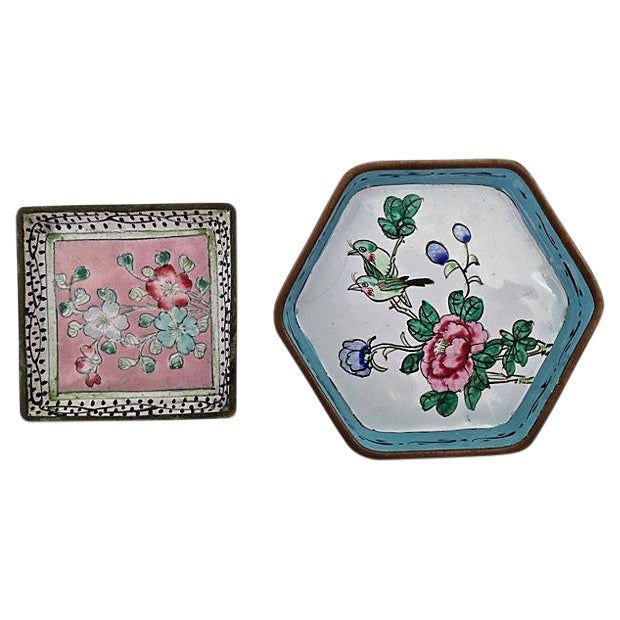 Antique Chinese Enamel Dishes - A Pair - Image 1 of 6