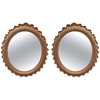 Mid 19th Century Vintage Carved Gilt Wood Oval Mirrors- a Pair For Sale