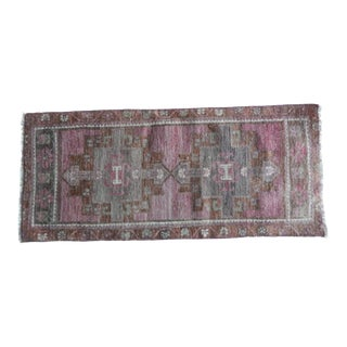 Front of Kitchen Sink Rug Hand Made Bath Mat Faded Mini Rug 1′6″ × 3′5″ For Sale