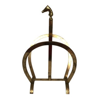 Hermès Style Brass Equestrian Magazine Stand For Sale