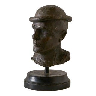 "Mid Century Bronze Bust of Male on Wooden Base, Signed by Artist and Stamped ""Rome 1969"" For Sale"