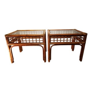 1950s Boho Chic Rattan Side Tables - a Pair For Sale