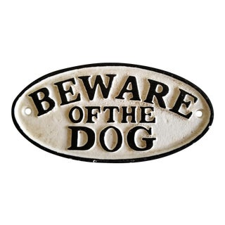 Cast Iron Beware of Dog Sign For Sale