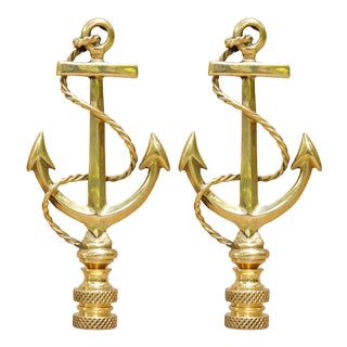 Brass Anchor Lamp Finials - a Pair For Sale