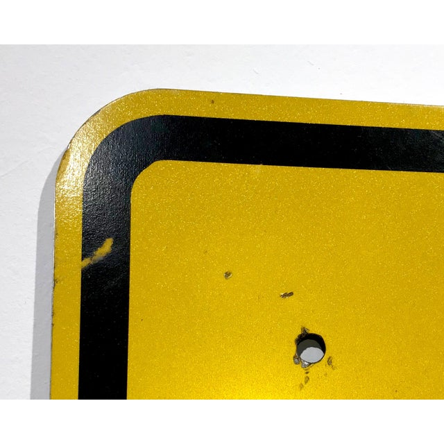 Vintage Reflective Slow Traffic Caution Construction Sign For Sale - Image 5 of 8