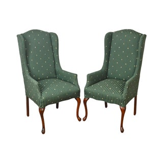 Thomasville Pair of Cherry Queen Anne Host Wing Chairs