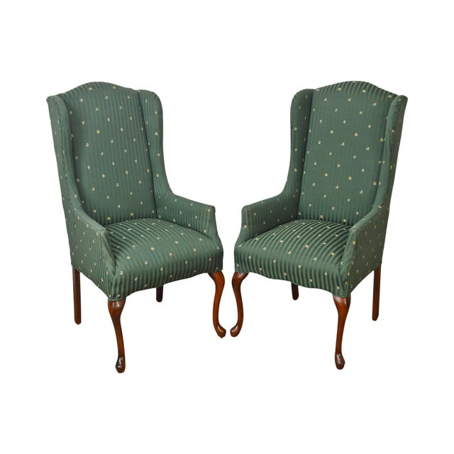 Thomasville Pair of Cherry Queen Anne Host Wing Chairs - Image 1 of 13