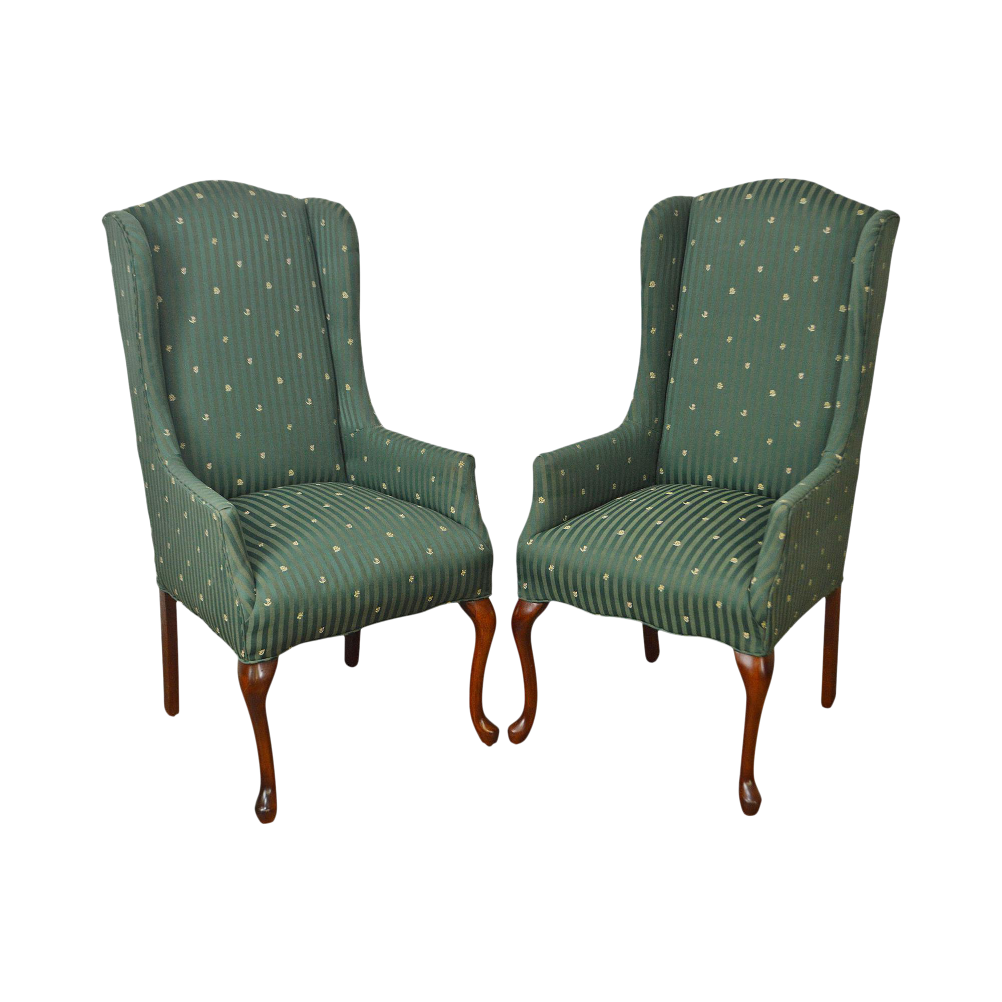 Good Thomasville Pair Of Cherry Queen Anne Host Wing Chairs