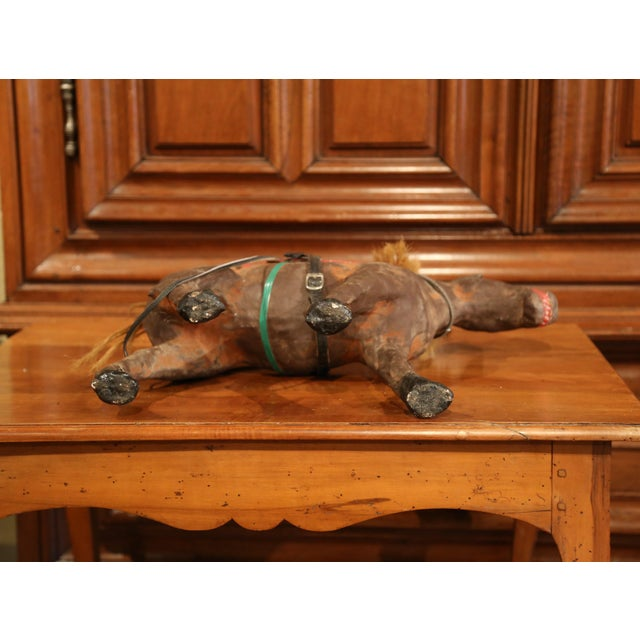 19th Century French Leather Papier Mache and Horse Hair Painted Sculpture For Sale - Image 9 of 10