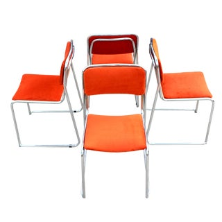 1980s Vintage Marcel Breuer Style Orange Velvet & Chrome Tubular Stackable Bauhaus Dining Chairs - Set of 4 For Sale