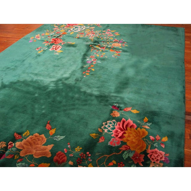 "1920s Chinese Green Art Deco Rug - 8'10""x11'3"" For Sale - Image 4 of 5"