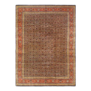 Pasargad Navy Blue Hand Knotted Fine Herati Rug - 11′11″ × 15′ For Sale