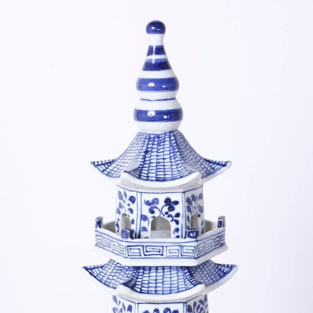 Ceramic Chinese Blue and White Porcelain Pagodas - a Pair For Sale - Image 7 of 13