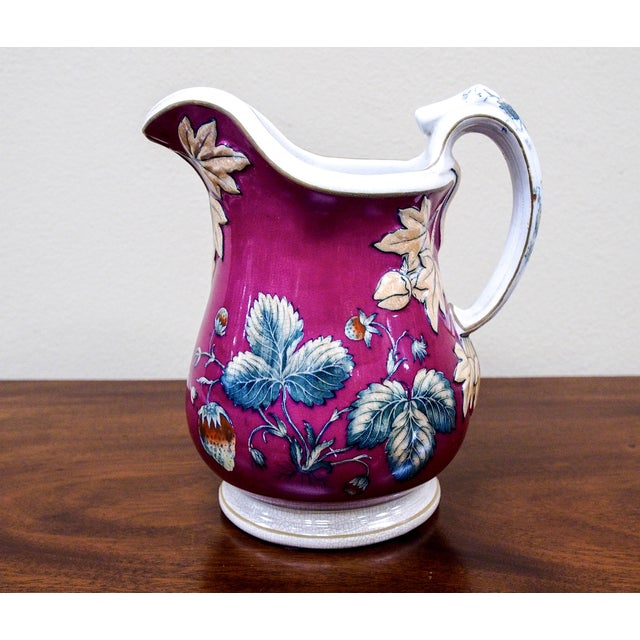 19th Century Davenport Pottery Strawberry Pitcher - Image 2 of 7