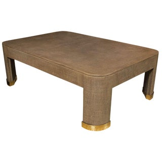 Karl Springer Style Linen Coffee Table