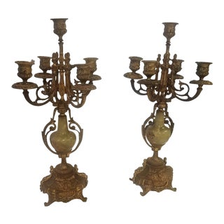 Late 19th Century Antique French Gilt Bronze Candleholders - A Pair For Sale