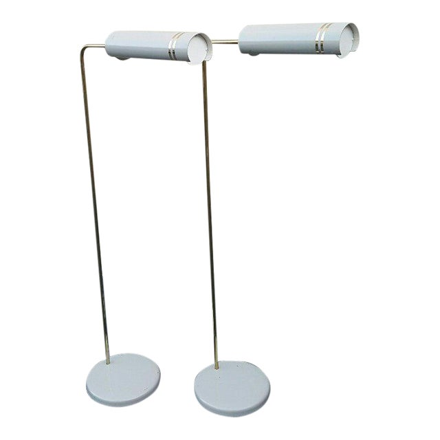 Mid Century Rare Stylized Space Age Gerald Thurston Reading Floor Lamps - a Pair For Sale