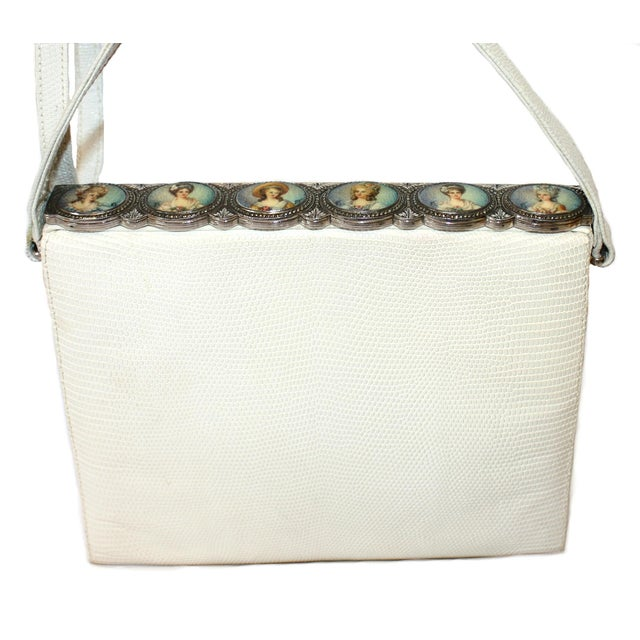 Traditional 1960s White Lizard Purse With Portrait Frame For Sale - Image 3 of 6