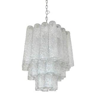 Italian Murano Corteccia Glass Tubes Chandelier by Venini For Sale