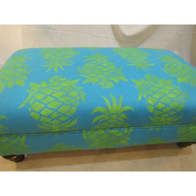 Large Turquoise Pineapple Print Ottoman - Image 3 of 5