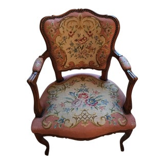 Antique Needlepoint Cherry Wood Arm Chair