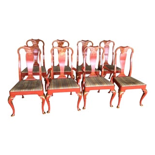 Baker Queen Anne Red Lacquer Chinoiserie Chairs - Set of 8 For Sale