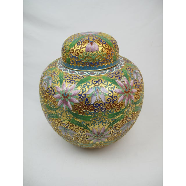 Floral Cloisonné Lidded Ginger Jars - a Pair For Sale - Image 4 of 5