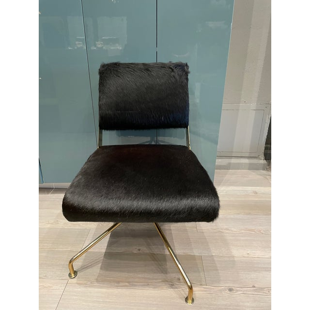 Metal Black Hide & Brass Swivel Office Chair For Sale - Image 7 of 7