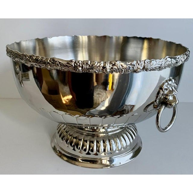 English silver punch bowl with rim and lion handle details - freshly plated punch bowl, silver over copper, made in...