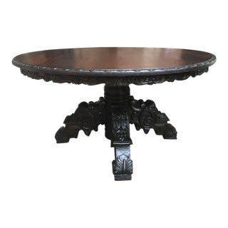 19th Century Black Forest Carved Dark Oak Oval Dining Table
