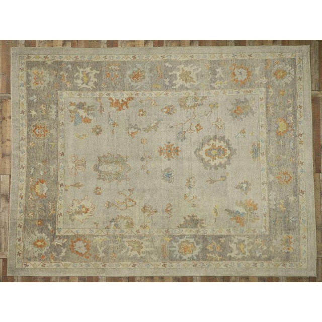 Textile Contemporary Turkish Oushak Area Rug - 11′2″ × 14′7″ For Sale - Image 7 of 8