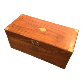 Hand-Made Camphor Wood Chest, W/ Brass Detailing, Vintage For Sale