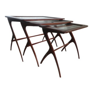 Italian Mid Century Nesting Tables Manner of Ico Parisi - Set of 3 For Sale
