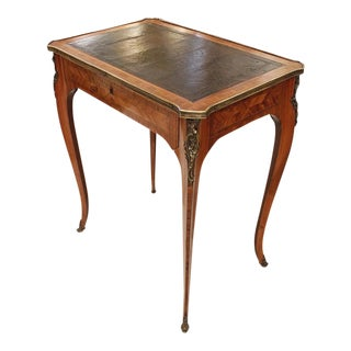 French Louis XV Style Brass Bound Marquetry Occasional Table For Sale