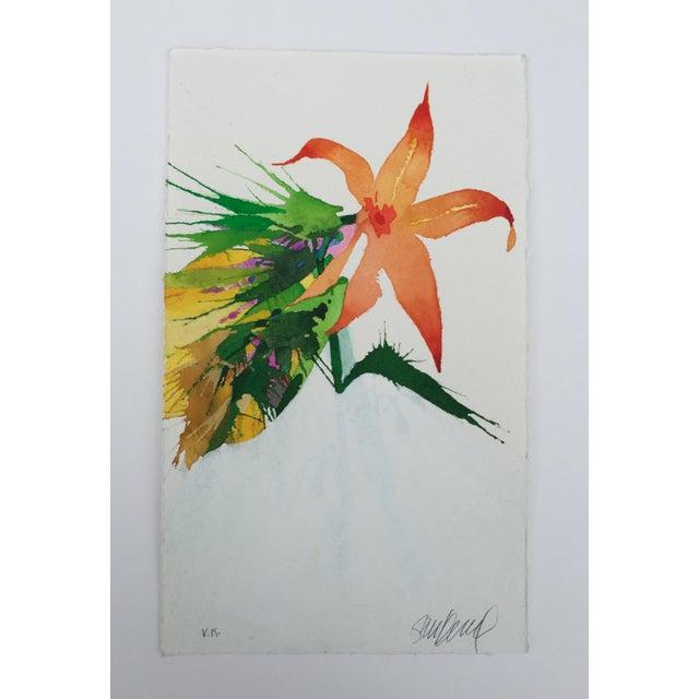 """Burst of Orange"" Original Watercolor - Image 2 of 3"
